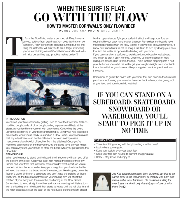 Flowrider, Wavelength July 2012 issue