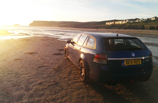 good-shout-vauxhall-VXR8-surf-polzeath-sunset