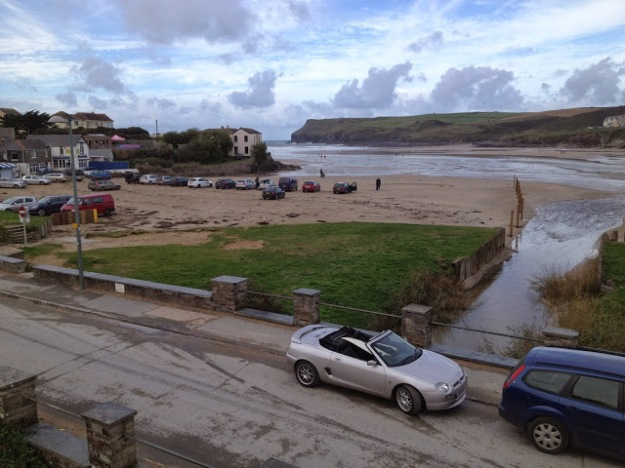 The MGF complete with 6'2 surfboard enjoying the sunshine late in the season at Polzeath beach, UK