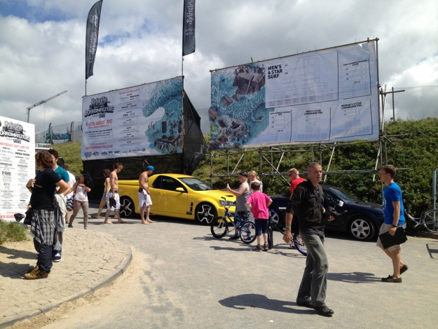 The Vauxhall Maloo causually blending in at Boardmasters Surf Festival