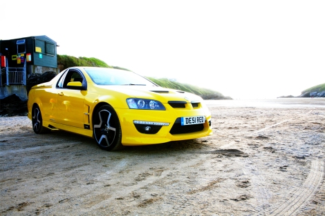 The ultra exclusive Vauxhall Maloo can't help posing on Porth beach, Newquay