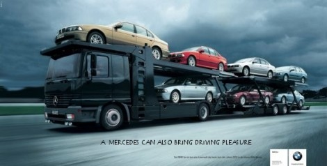 BMW mocks Mercedes with 'delivering driving pleasur' advert