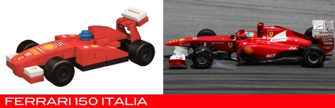 The Lego Ferrari 150 Italia vs the real thing