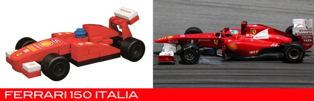 The Lego Ferrari 150 Italia vs the real thing