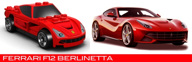 The Lego Ferrari F12 Berlinetta vs the real thing