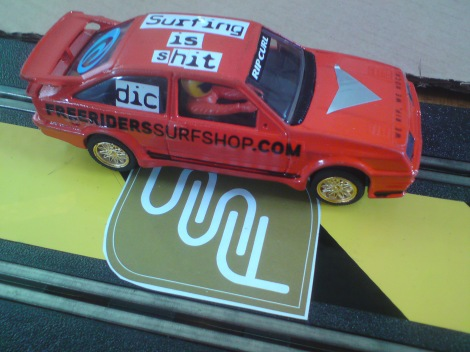 With plenty of time on our hands, we were able to create a 'Works' car, sponsored by Falmouth & Porthtowan Surf School, whom Joe happened to be working for at the time. Freeriders Surf Shop also featured prominently in the 'free stickers' draw of Joe's cupboards.