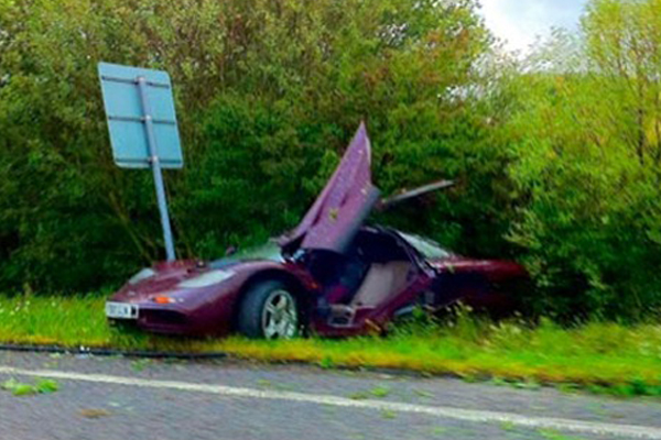 The crash that resulted in Britain's highest ever insurance payout, reportedly it cost over £900,000 to get Atkinson's McLaren F1 back on the road
