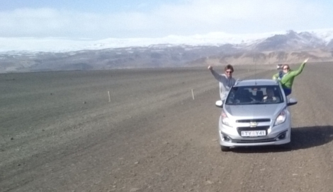 The Chevrolet Spark in a very volcanic landscape